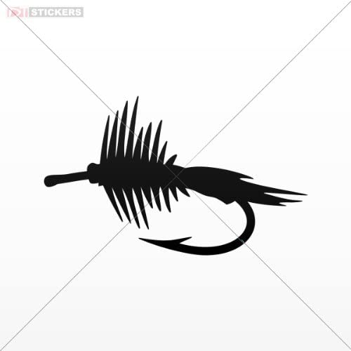 Decal Sticker Fly Fishing Boat Wall Art Decor Car Window Mobile Poster For Marine Vessel Size: 5 X 3 Inches Black