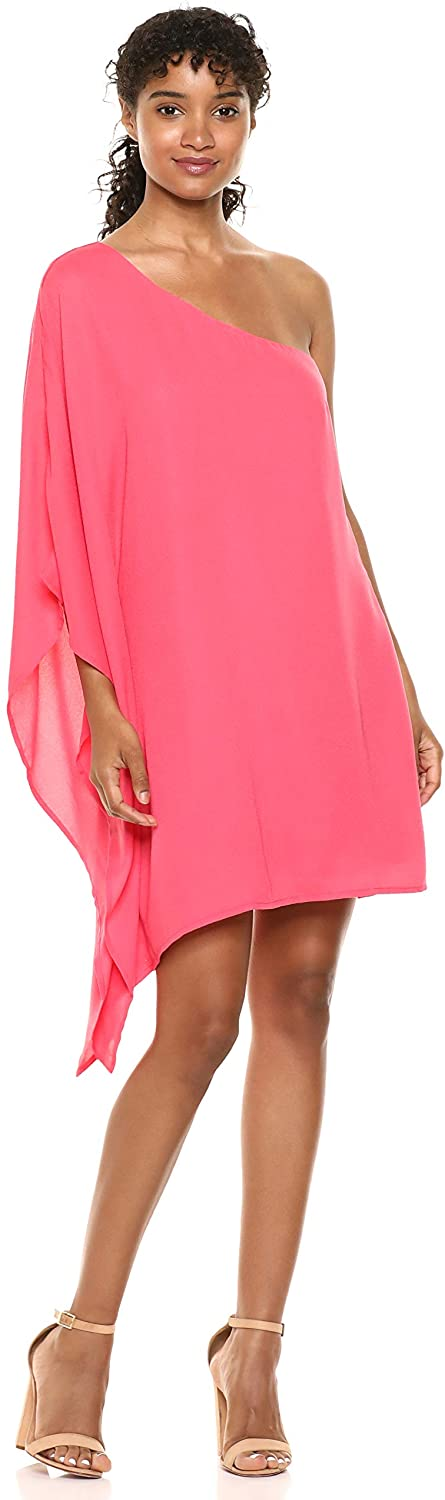 cupcakes and cashmere Women's Deliz Crepe One Shoulder Cape Sleeve Dress
