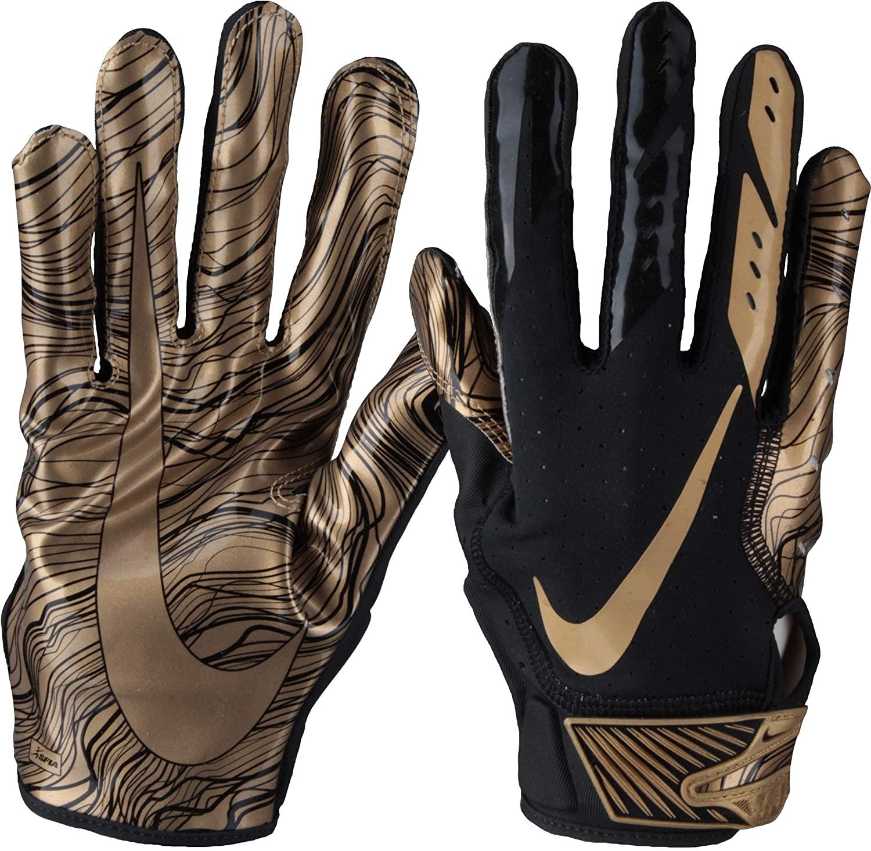 Nike Mens Vapor Jet 5.0 Football Gloves (Black/Metallic Gold, X-Large)