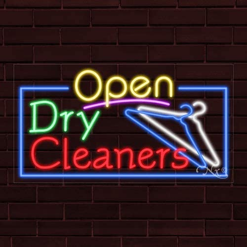 37x20x1 in. Dry Cleaners Flashing LED Flex Window Sign Includes Inline Remote Control
