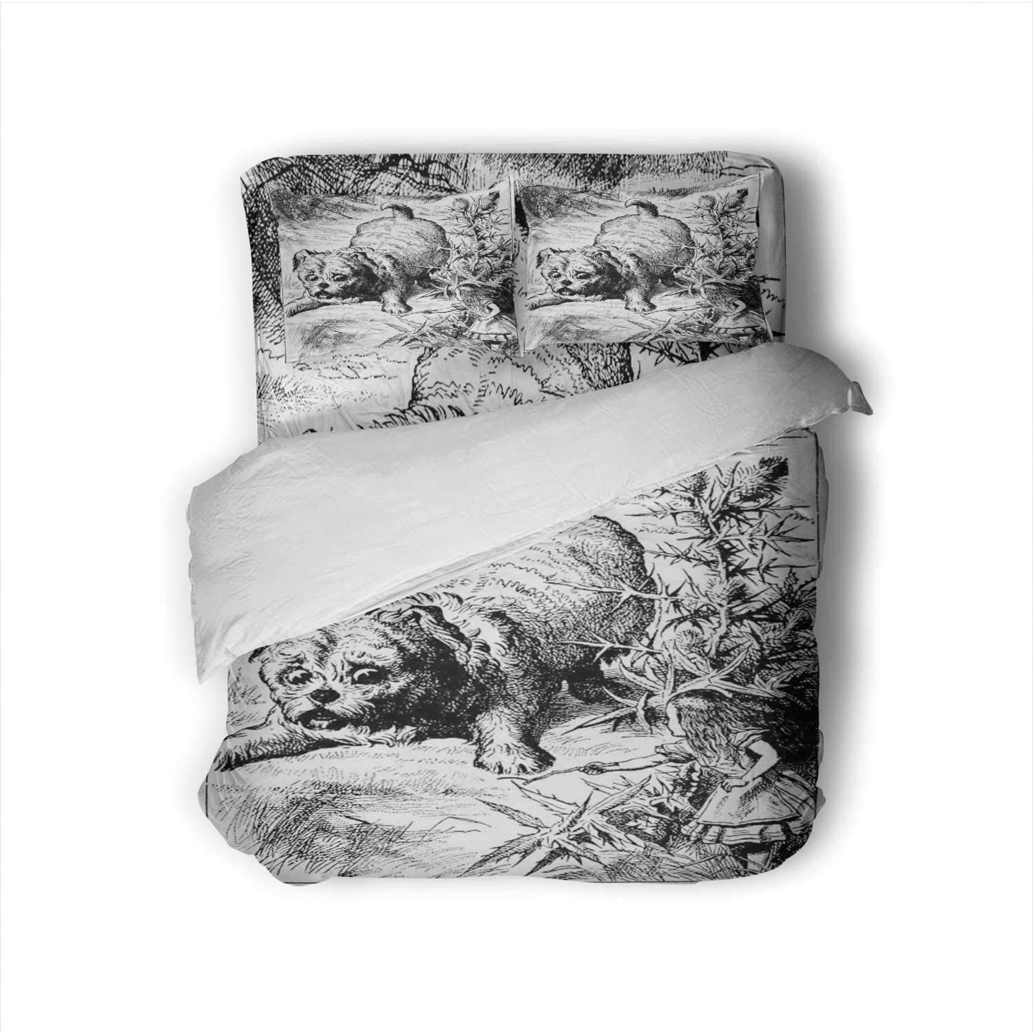 Hitecera Giant Dog -,100% Cotton King Size Sheets Set - Soft 4 Piece Sheets and Pillowcases (- 's Adventures in Wonderland) - - Illustration King