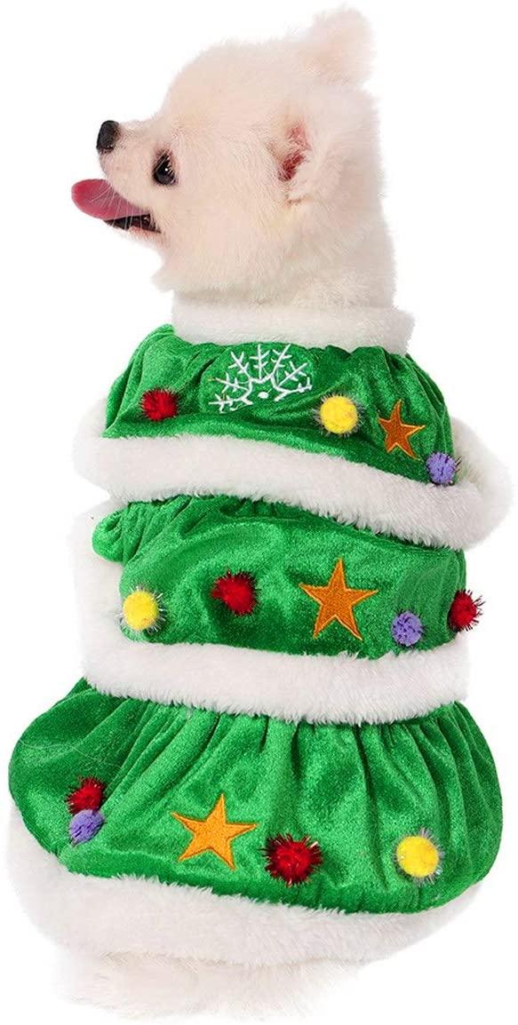 Filhome Dog Christmas Tree Costume, Pet Cat Christmas Dress Winter Fleece Coat Clothes Puppy Xmas Outfit Apparel