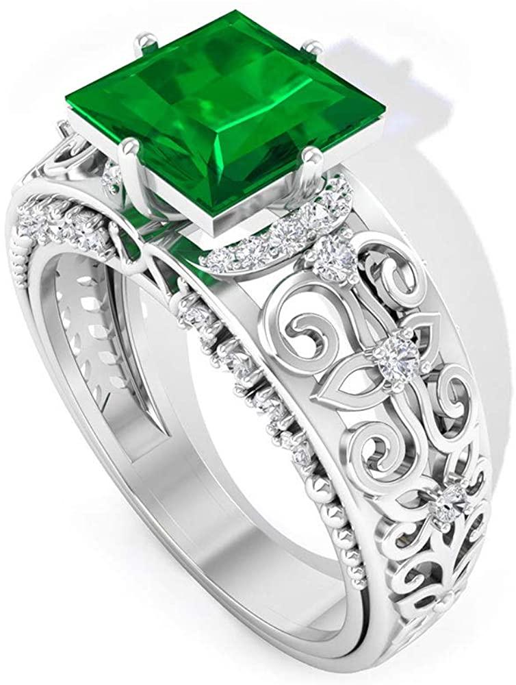 1.75 Ct Solitaire Emerald Engagement Ring, Princess Cut Gemstone Wedding Ring, SGL Certified Diamond HI-SI Bridal Ring, Mothers Statement Ring, 18K Gold