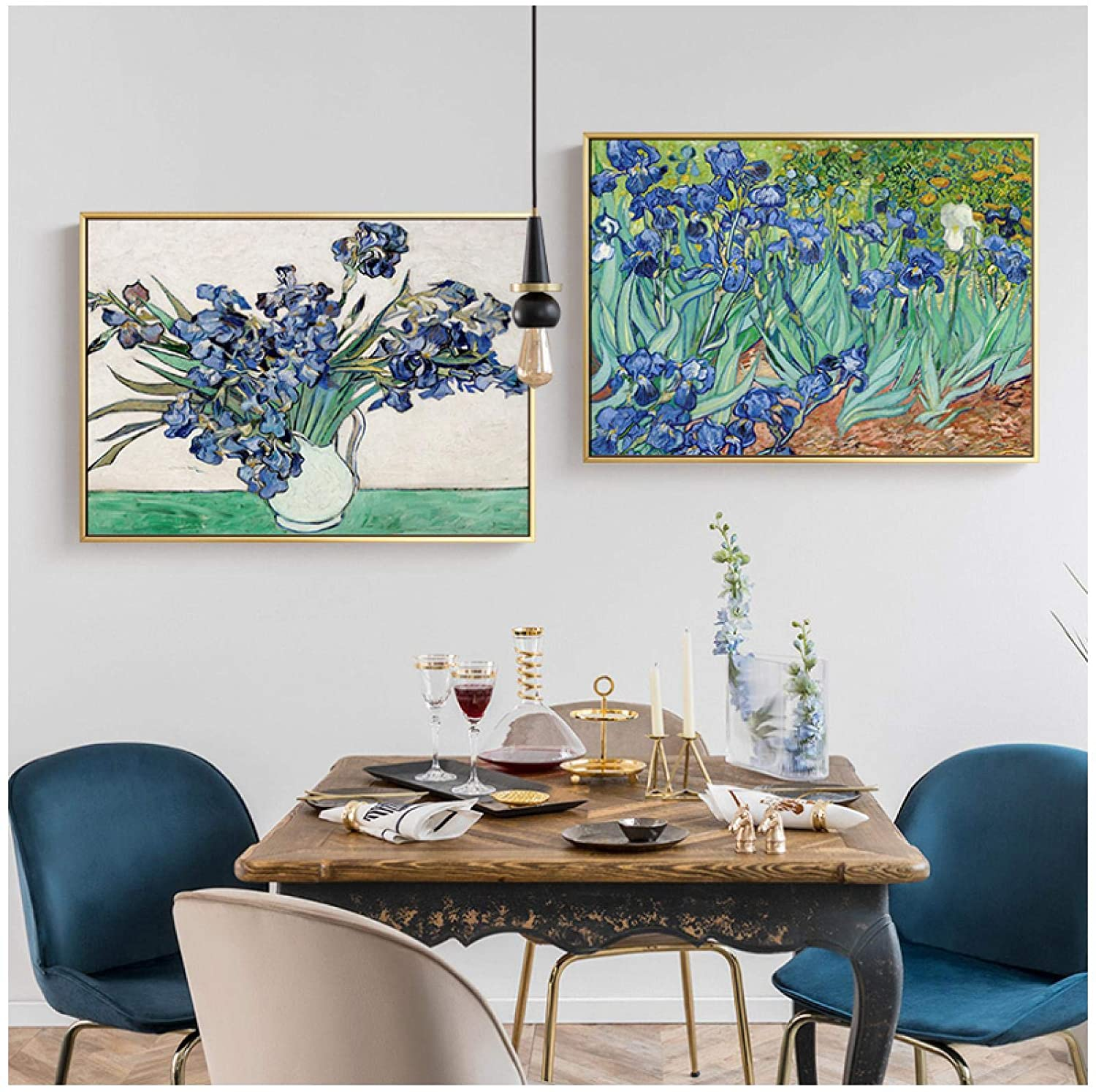 Wall Art ZXYFBH Canvas Painting Catcher Flowers Prints Posters Wall Art for Living Room Europe Dining Room Mural Decor 15.7x23.6in(40x60cm) x2pcs No Frame