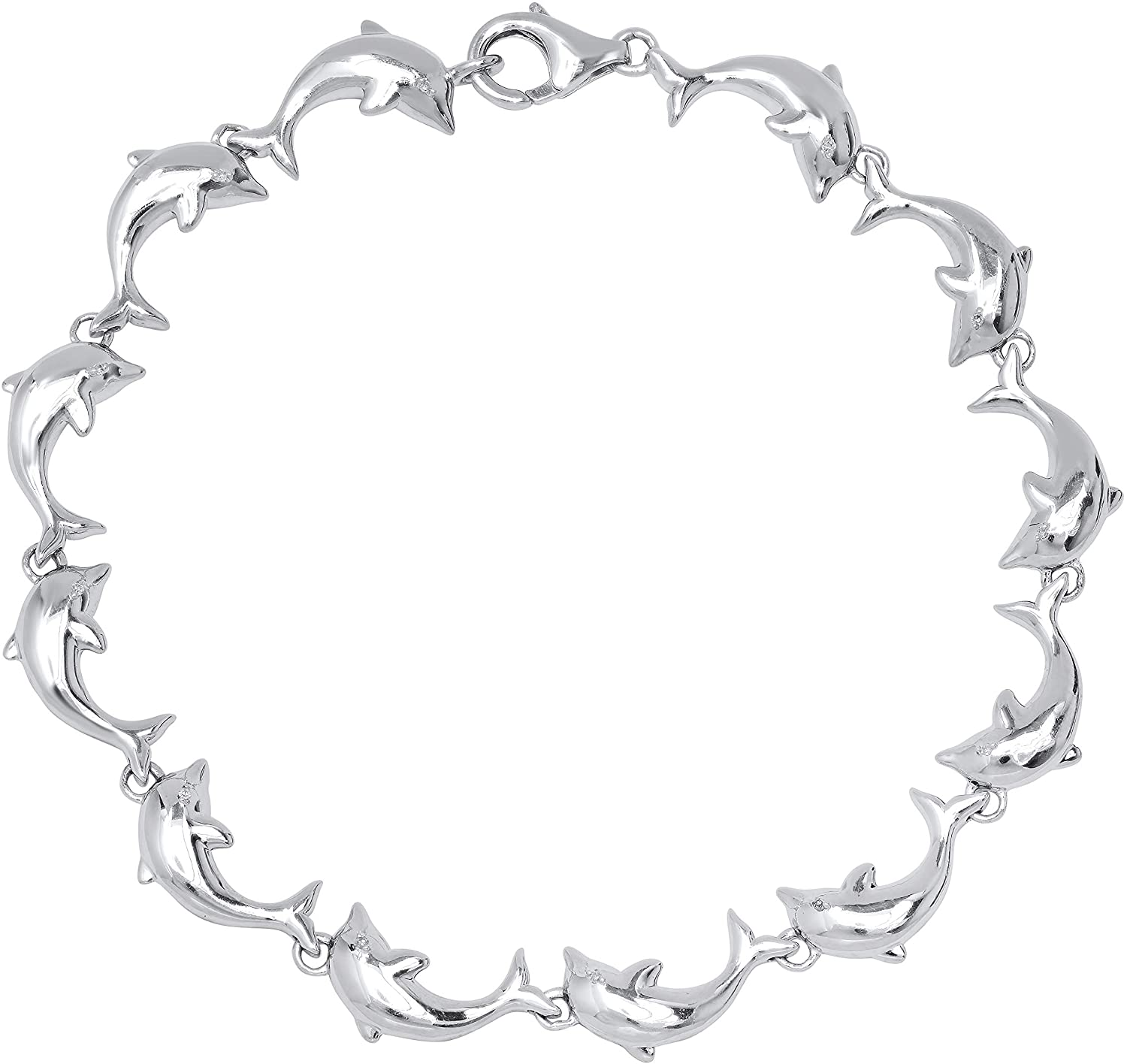 Dazzlingrock Collection Ladies Fashion Dolphin Bracelet with Round White Diamond Accents, Sterling Silver