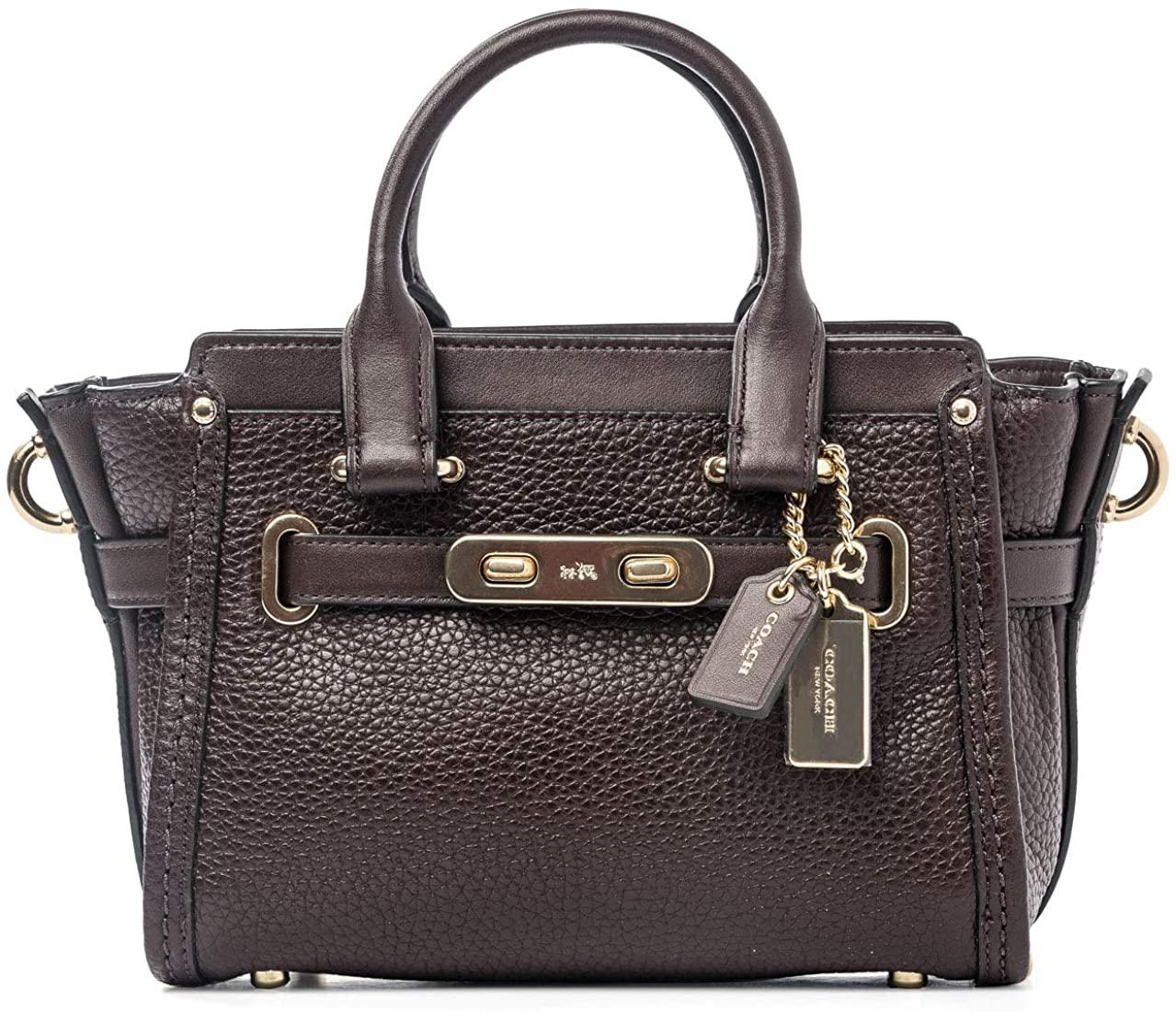 COACH Womens Swagger 20 Oxblood Burgundy Leather Handbag Bag New