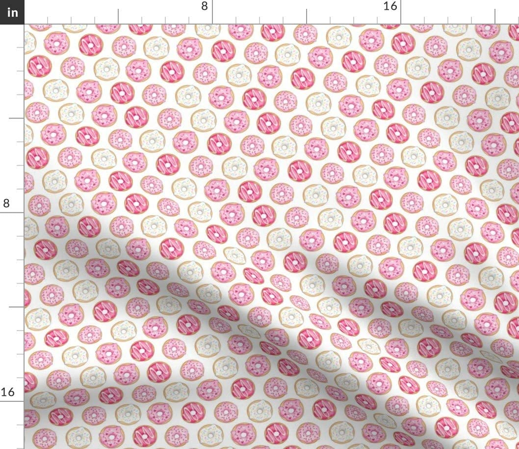 Spoonflower Fabric - Donuts Pink Cake Food Bakery Printed on Denim Fabric by The Yard - Bottomweight Apparel Home Decor Upholstery