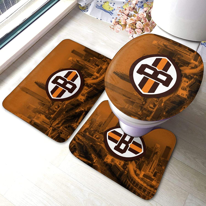 KANBGMTR Cleveland Brown Bathroom Anti-Skid pad Quick-Drying Non-Slip Bathroom Three-Piece Carpet, Floor mat