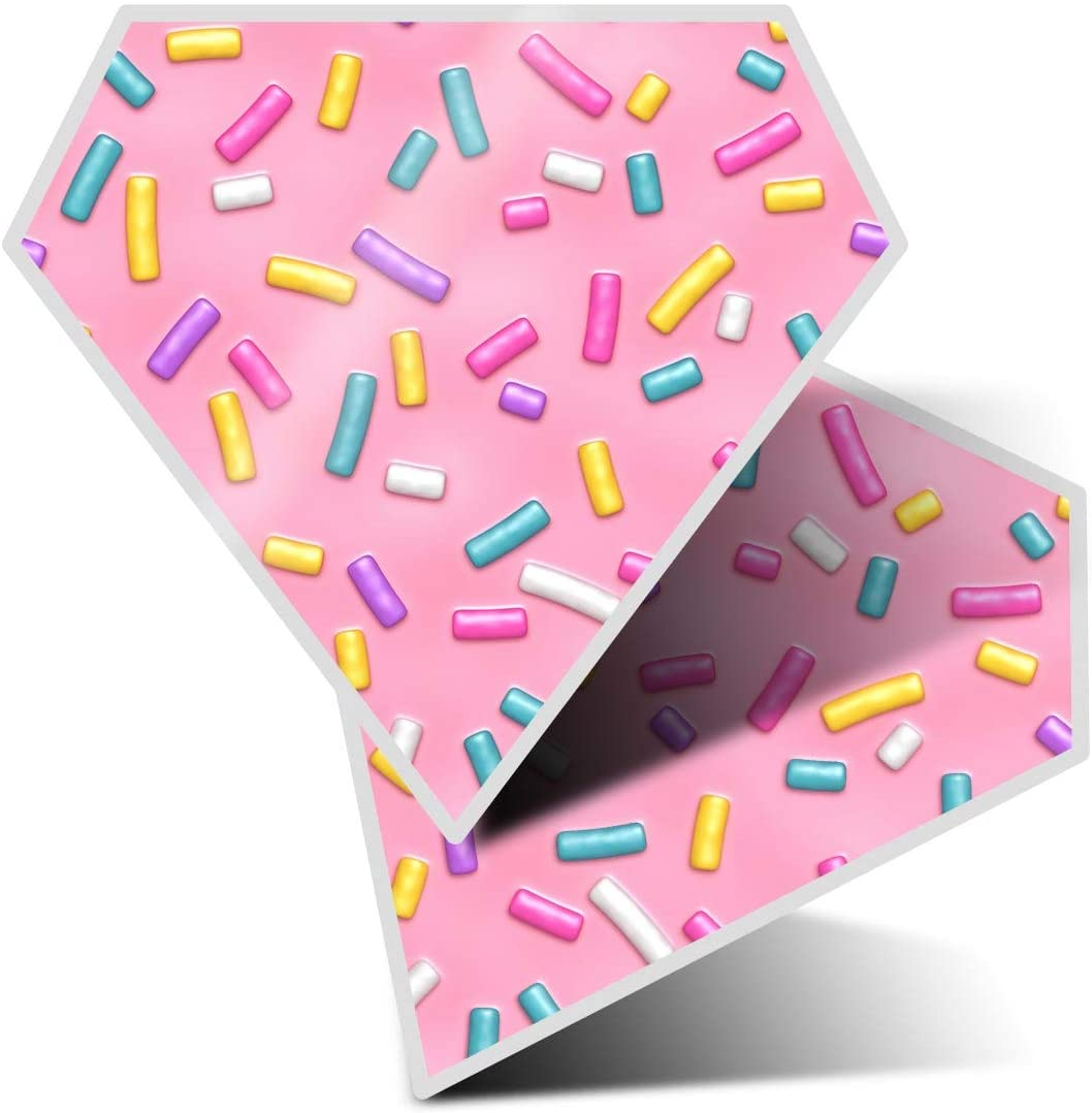 Awesome 2 x Diamond Stickers 7.5 cm - Pink Sprinkles Donut Doughnut Fun Decals for Laptops,Tablets,Luggage,Scrap Booking,Fridges,Cool Gift #14499