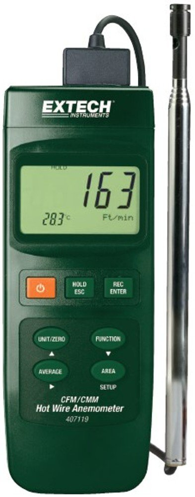 Extech Instruments 407119-NIST Heavy Duty CFM Hot Wire Thermo-Anemometer with NIST