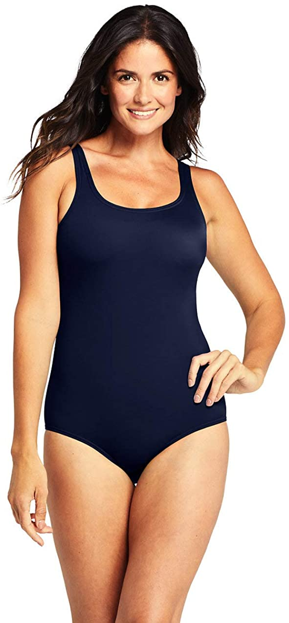 Lands' End Womens Chlorine Resistant Tugless Tank Soft Cup One Piece Swimsuit Deep Sea Navy D-Cup 10