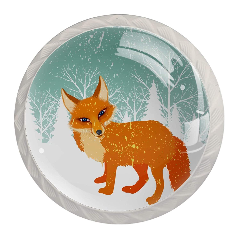 Door Knobs Snow Fox 4 Pack Knobs for Dresser Drawers Decorative Cabinet Handles Knobs Pulls for Kitchen Wardrobe with Fashion Design 3.5×2.8CM