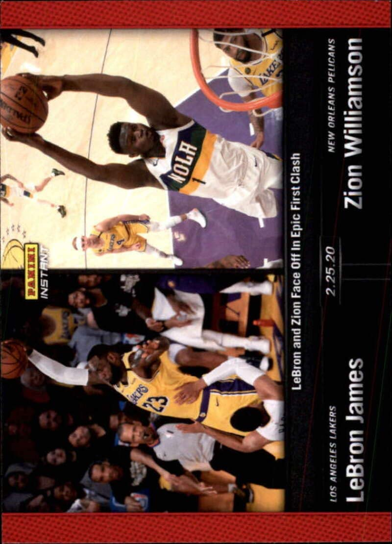 2019-20 Panini Instant NBA Basketball #104 LeBron James/Zion Williamson Los Angeles Lakers/New Orleans Pelicans RC Rookie Face Off in Epic First Clash 2.25.20 Print Run 640