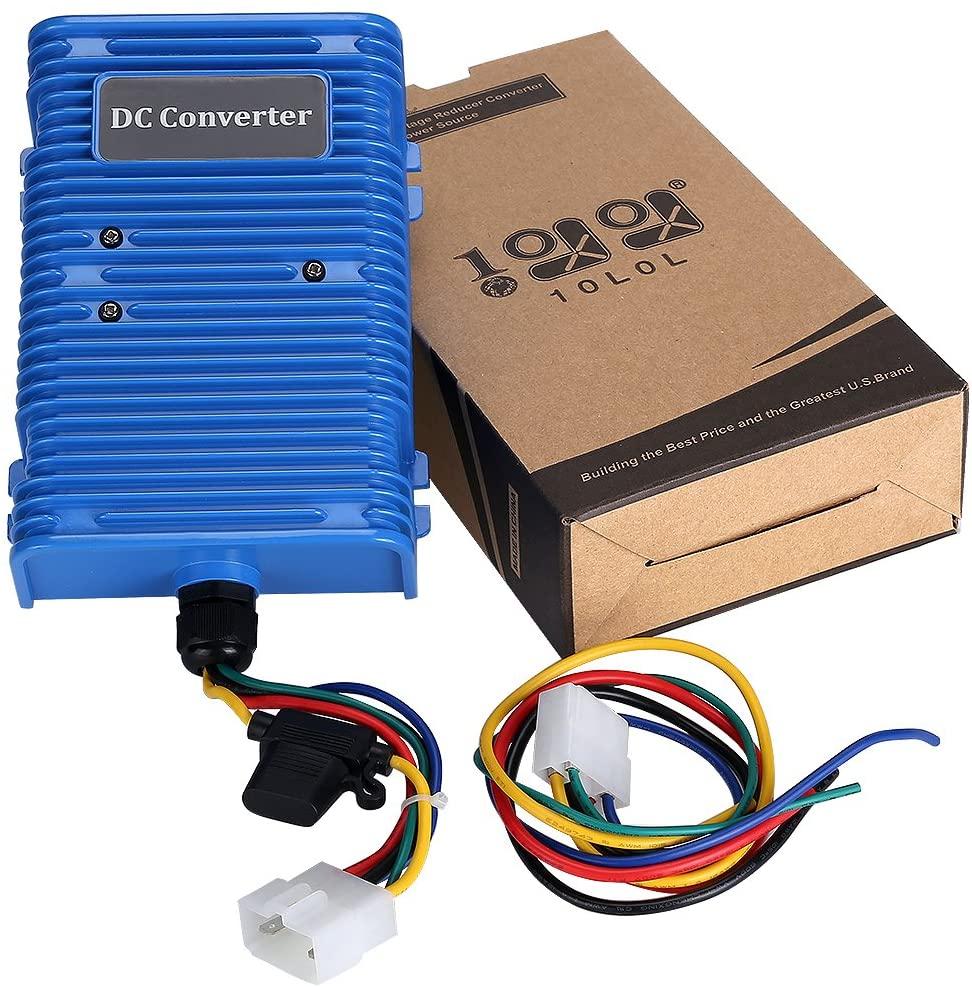 10L0L 30 Amp Golf Cart Voltage Reducer Voltage Converter (36v/48v to 12v) with Dual Power Source Fits on Club Car E-Z-GO 360 Watt!