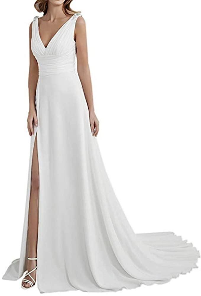SIQINZHENG Womens A Line Chiffon Wedding Dress Formal Prom Dresses Split Evening Gowns
