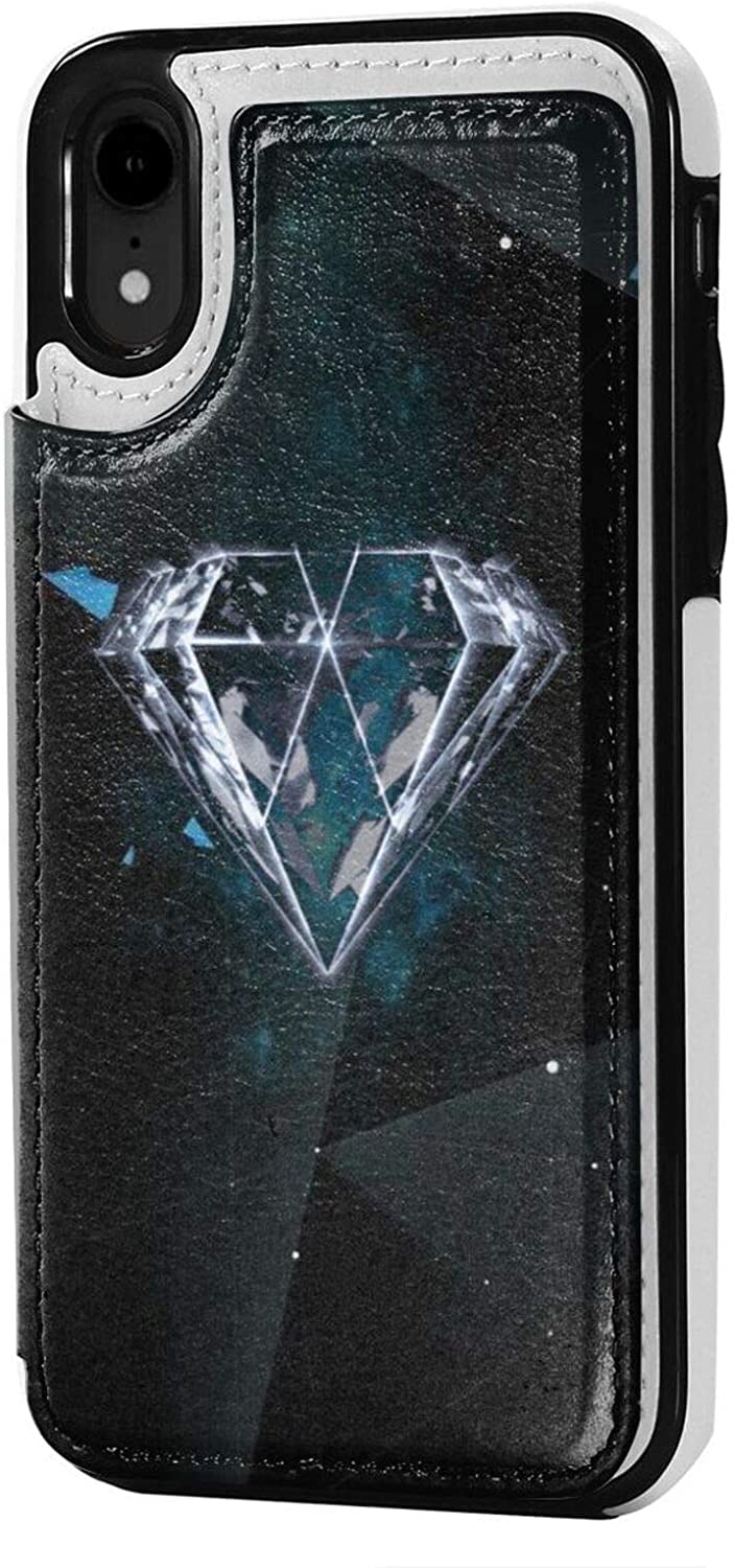 Joseph E Hinton Exo iPhone Xr Case Wallet Credit Card Premium Leather Case with Card Slot Supports Wireless Charging Anti Fall Protective Cover Fashion Black