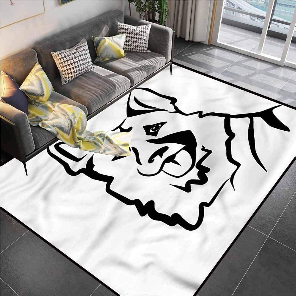 Area Rug Print Large Rug Mat German Shepherd,Doodle Art Alsatian Carpets for Living Dining Dorm Playing Room Bedroom 6'6