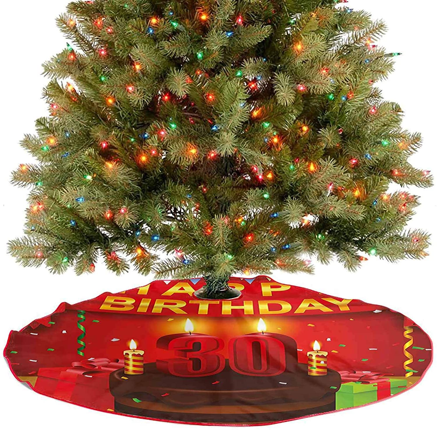 Adorise Tassel Christmas Tree Skirt Celebration with Chocolate Cream Cake Colorful Flags and Gifts Holiday Party Tree Mat Perfect for Your Holiday Decor - 48 Inch