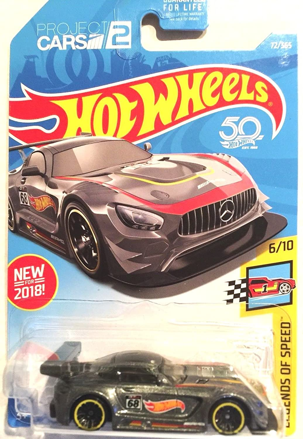 Hot Wheels 2018 50th Anniversary Legends of Speed '16 Mercedes AMG GT3 72/365, Gray