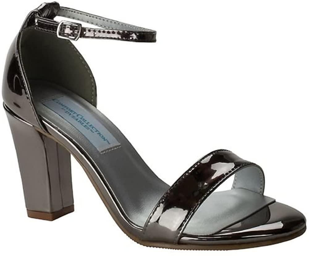 Davids Bridal Patent Ankle-Strap Block Heel Sandals Style Maddox