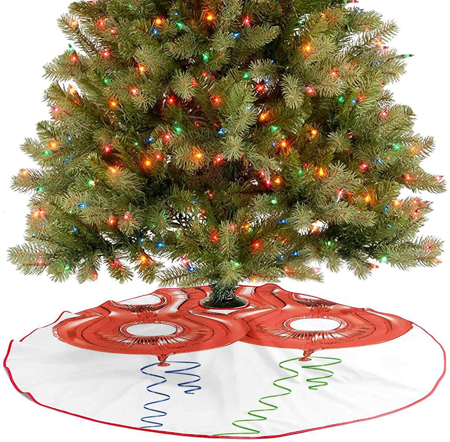 Adorise Tree Skirt Red Balloon Number Cheerful Party Elements Aging Design Lime Green Blue Decoration Ornaments Goes Perfectly with Your Tree - 30 Inch