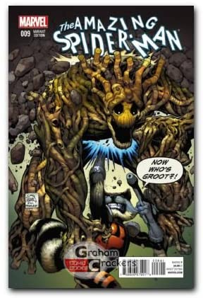 Amazing Spider-man #9 Rocket and Groot Variant Cover