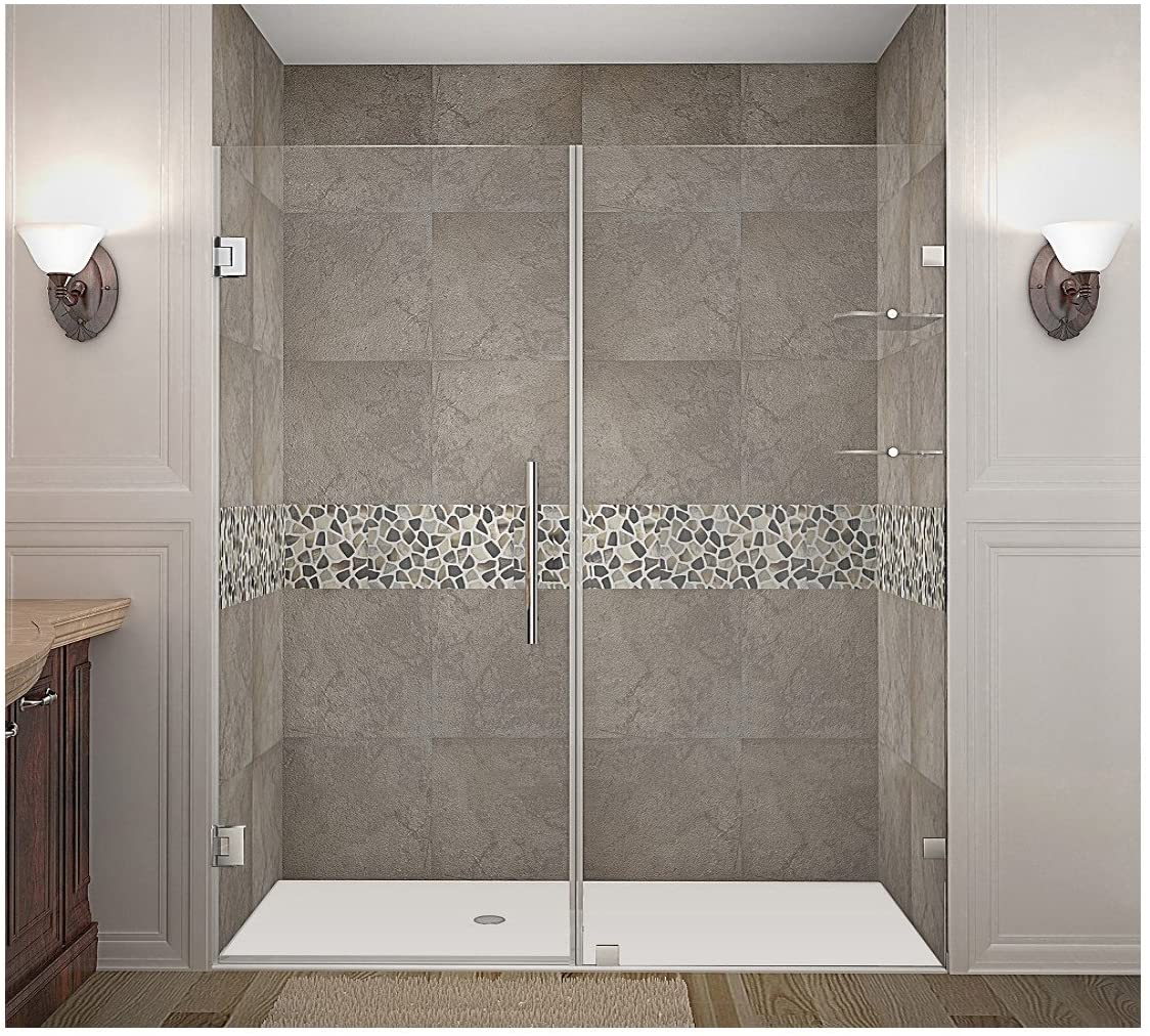 Aston Nautis GS Completely Frameless Hinged Shower Door with Glass Shelves, 71 x 72, Brushed Stainless Steel