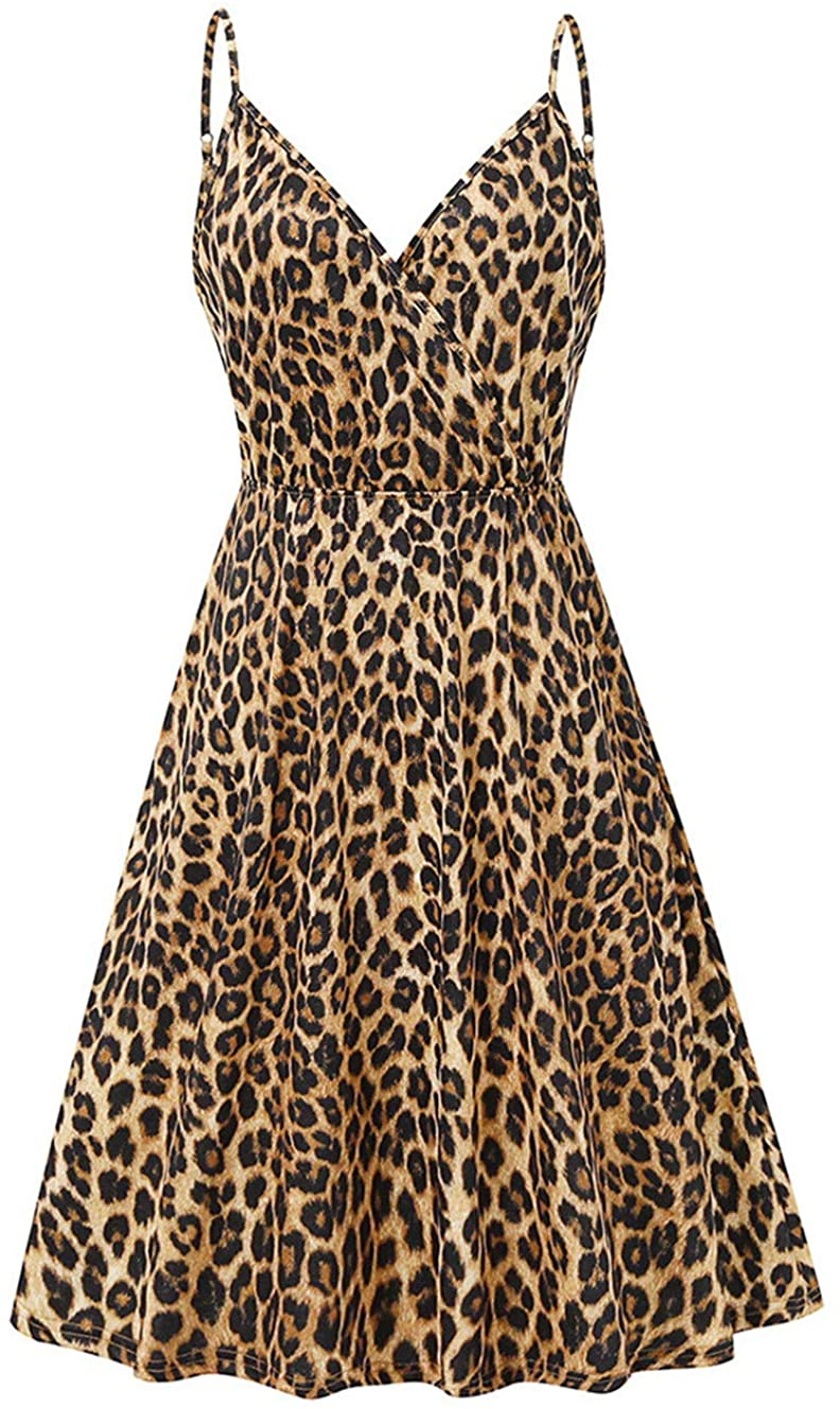 2020 Women Summer Spaghetti Strap Button Down V Neck Sleeveless Casual Mini Dress Leopard Sexy Short Sundress