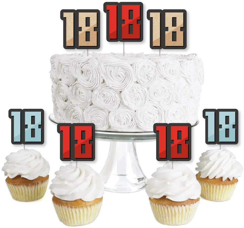 Big Dot of Happiness Boy 18th Birthday - Dessert Cupcake Toppers - Eighteenth Birthday Party Clear Treat Picks - Set of 24