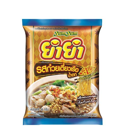 Yumyum Jumbo Boat Noodles Nam Tok Flavour Instant Flat Shaped Noodles 55 g. (40 Pack)