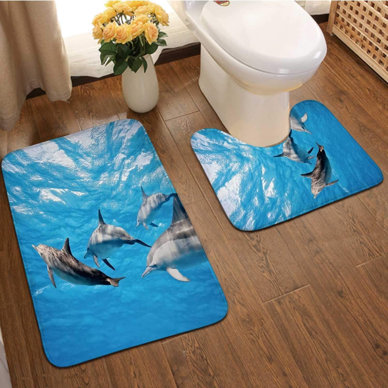 Dolphins in The sea,Bath Rug Set 2 Piece for Bathroom Non Slip Bath Rugs Contour and Rec