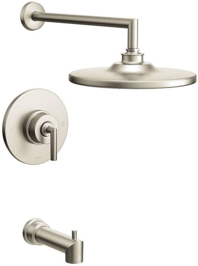 Moen TS22003EPBN Arris Posi-Temp Pressure Balancing Modern Tub and Shower Trim Kit with 10-Inch Eco-Performance Rainshower, Valve Required, Brushed Nickel