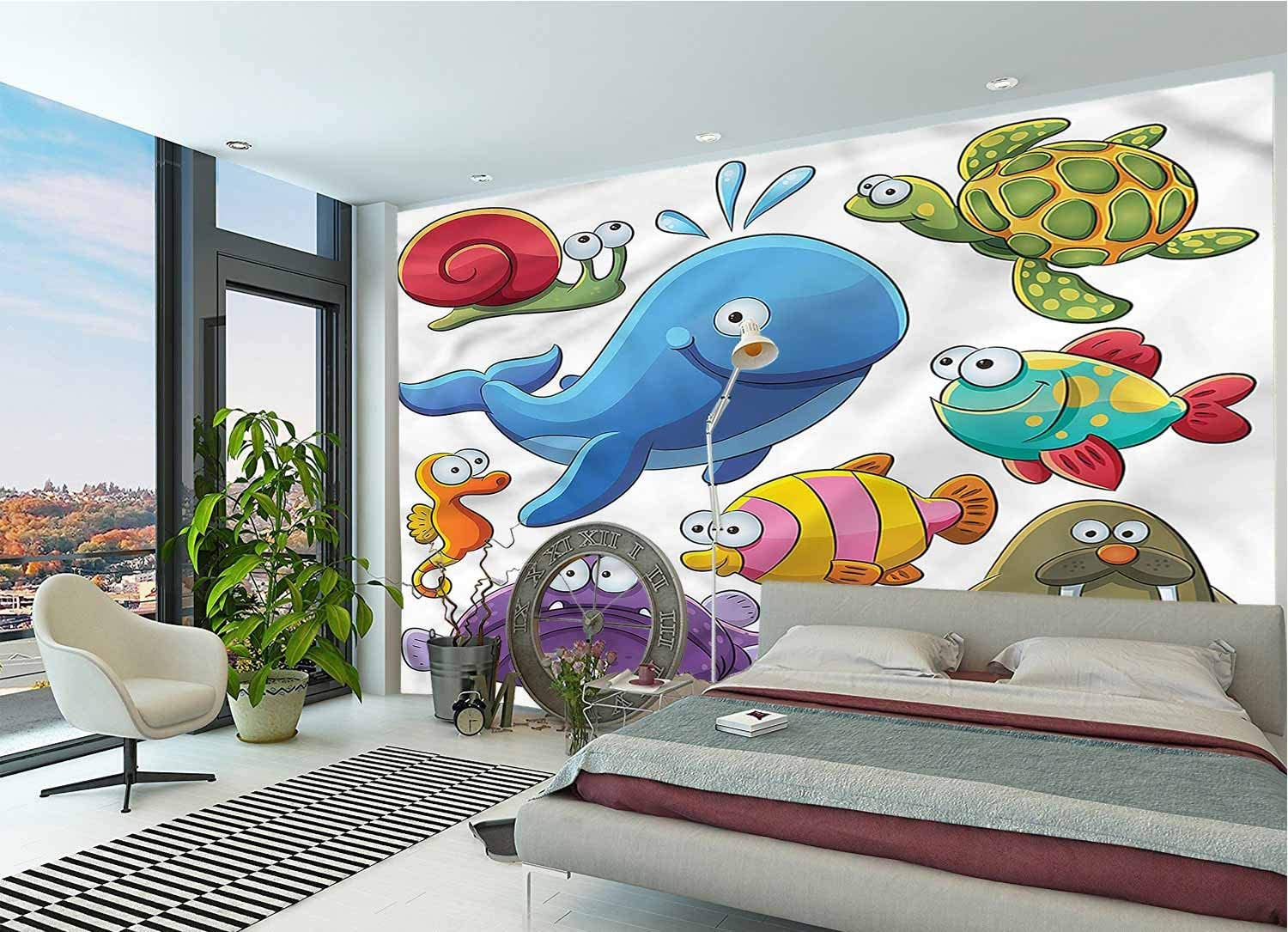LCGGDB Whale Large Wall Mural,Underwater Animals Sea Otter Self-Adhesive Large Wallpaper for Office Kids Bedroom Nursery Family Decor-78x55 Inch