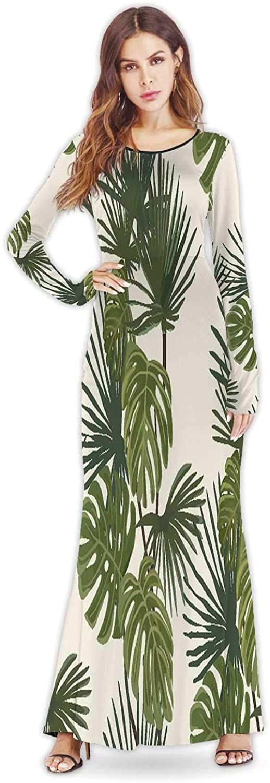 Tstyrea Palm Leaves.Tropical Print.Exotic Seamless Pattern,Lady Dress Elegant Casual Dresses M