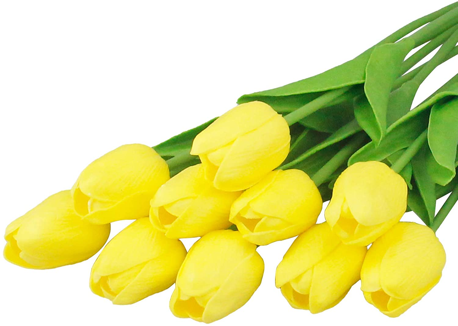 10pcs Artificial Tulips Flower Yellow Faux Latex Tulips Real Touch Flowers for Wedding Home Decoration