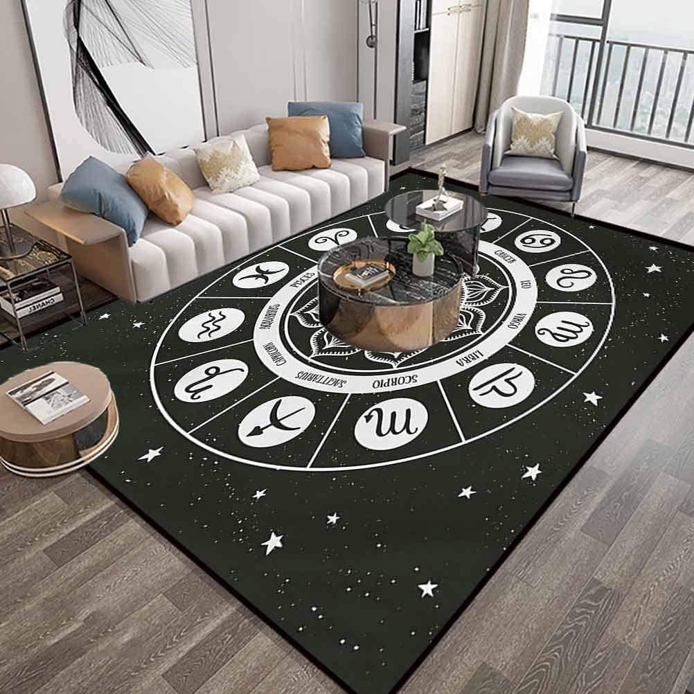 Zodiac Area Rugs 6X9 Feet,Style Horoscope Wheel Showing Zodiac Signs with Celestial Backdrop,Luxury Large Floor Carpet with Lock-Edge & Non-Slip Base,Charcoal Grey White