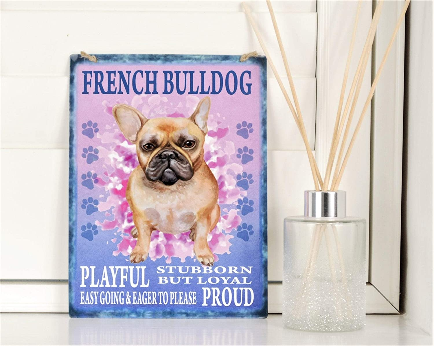 Diuangfoong French Bulldog Dog Breed Sign Shabby Chic Retro Metal Vintage Hanging Metal Plaque - 12×16 inches