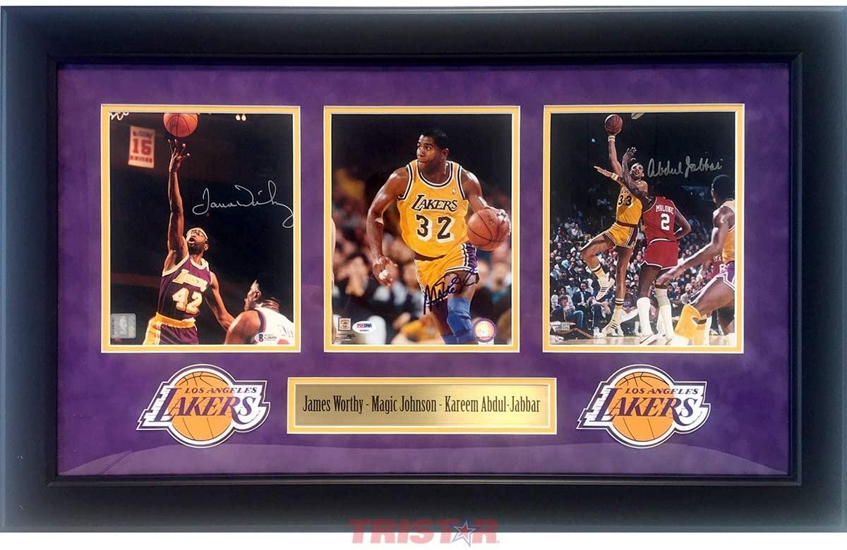 Kareem Abdul-Jabbar, Magic Johnson & James Worthy Autographed Los Angeles Lakers 8x10 Photos
