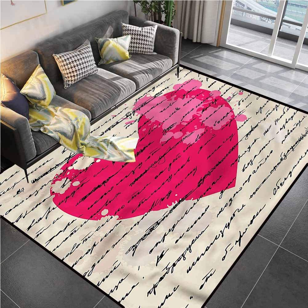 Area Rug Print Large Rug Mat Love,Love Quote Handwriting Runner Rug for Hallway for Living Playing Dorm Room Bedroom 6'6