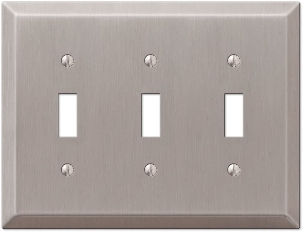 Traditional Design Triple Toggle Light Switch Wall Plate, Brushed Nickel