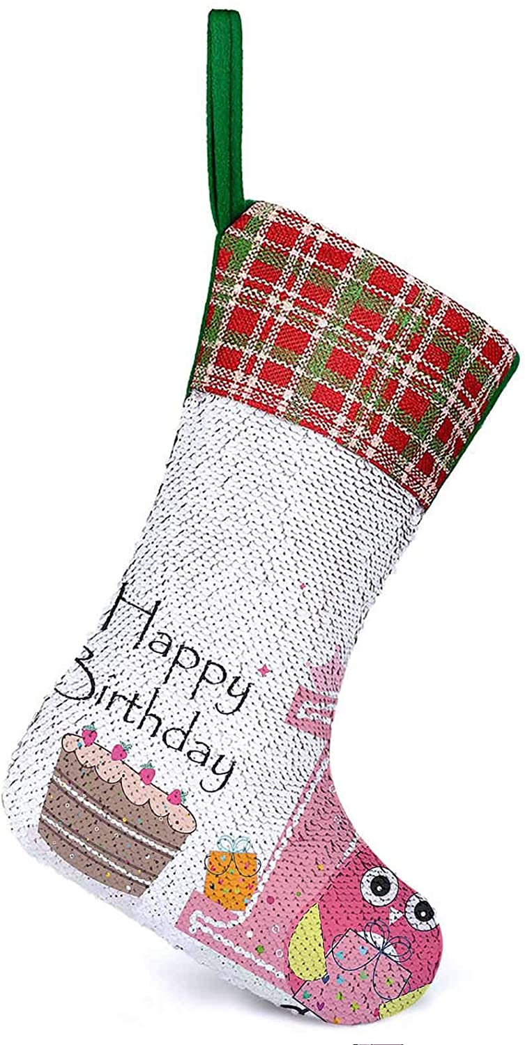 Customize Christmas Stocking First Birthday Cake Candle Sketchy Cartoon Owl Image Brown Hot Pink Home Ornament Holiday Party Supplies It Make Your Christmas Much Sweeter 9.9 x 13.2 Inch