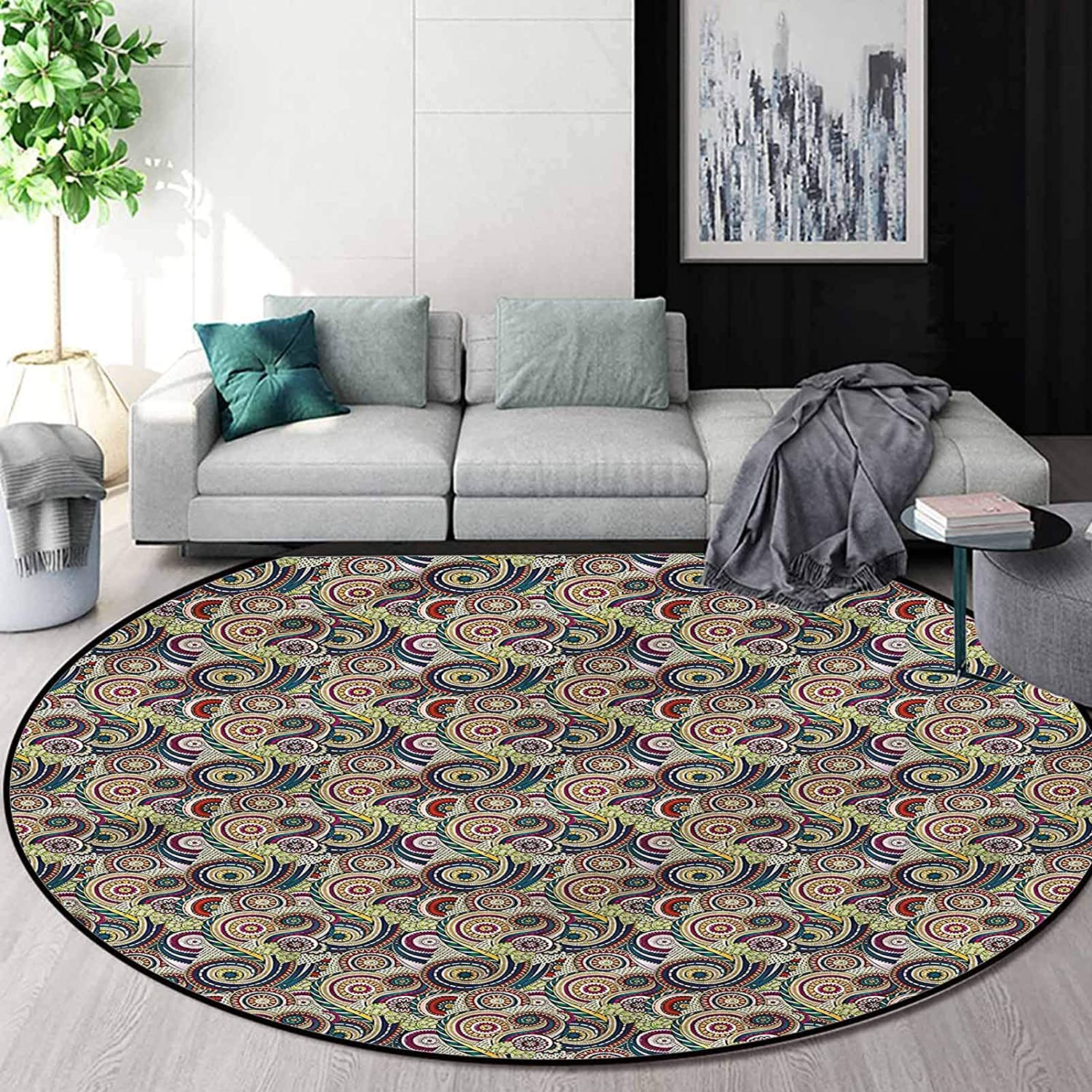 Abstract Accent Rug 6 Ft, Doodle Paisley Carpet