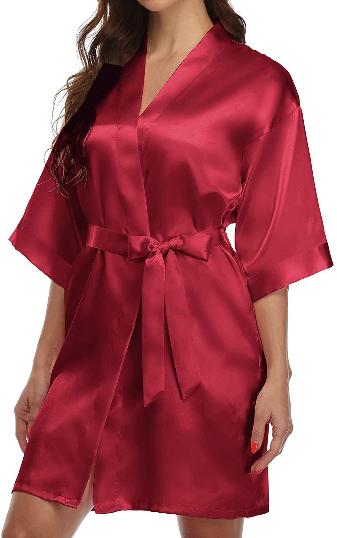 POPSTYLE Women Wedding Satin Robe for Bride and Bridesmaid Sleepwear Kimono Bathrobe