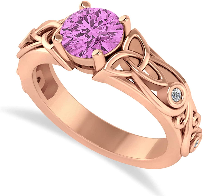 14k Gold (1.06ct) diamond accented bezel preset pink sapphire celtic engagement ring