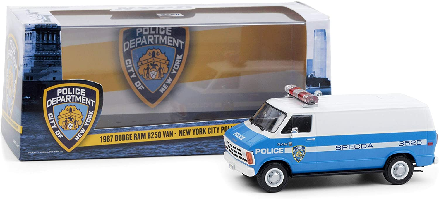 1987 Dodge Ram B250 Van Blue and White New York City Police Department (NYPD) 1/43 Diecast Model by Greenlight 86577