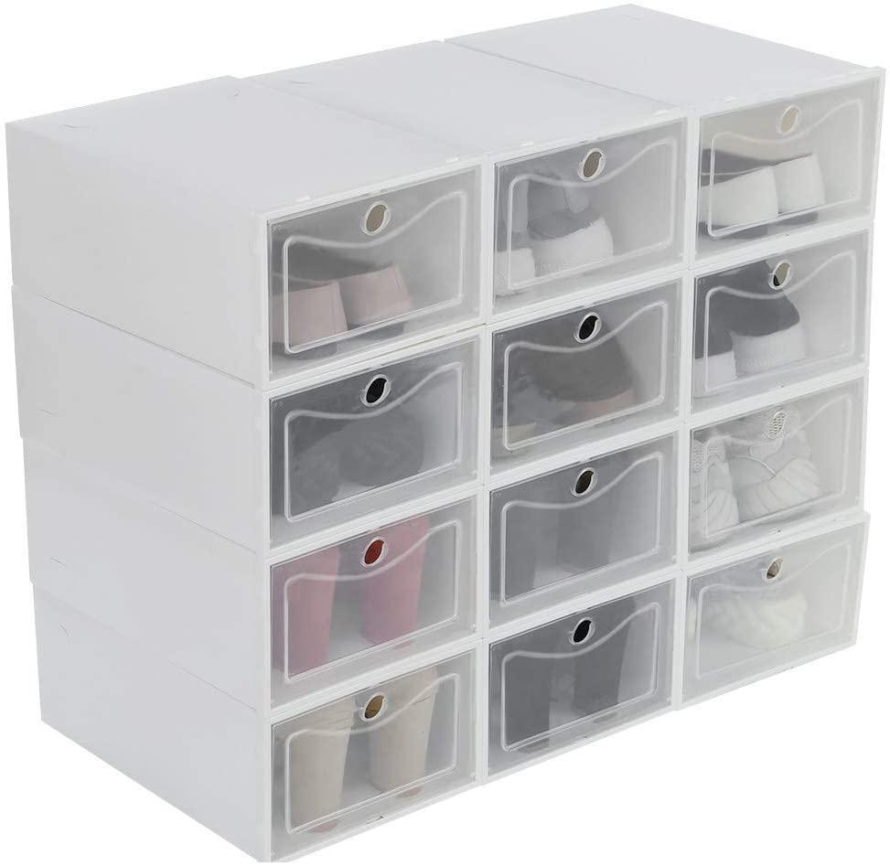 WXHNY 12Pcs Foldable Shoe Box Storage Plastic Transparent Case Stackable Organizer Shoes Organizer CD Organizer Cosmetics Organizer Mobile Phone Organizer