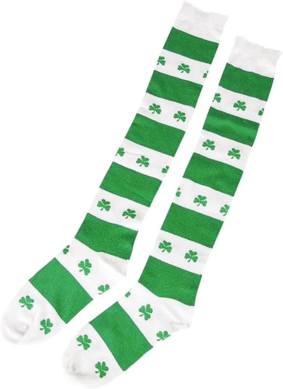 Shamrock Knee Socks, White/Green, One Size Fits Most