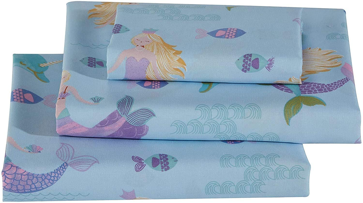 Sheet Set Dolphin Mermaid Under Water Sea Life Mermaids Dolphins Fishes Light Blue Purple New # Dolphin Mermaid (Twin)