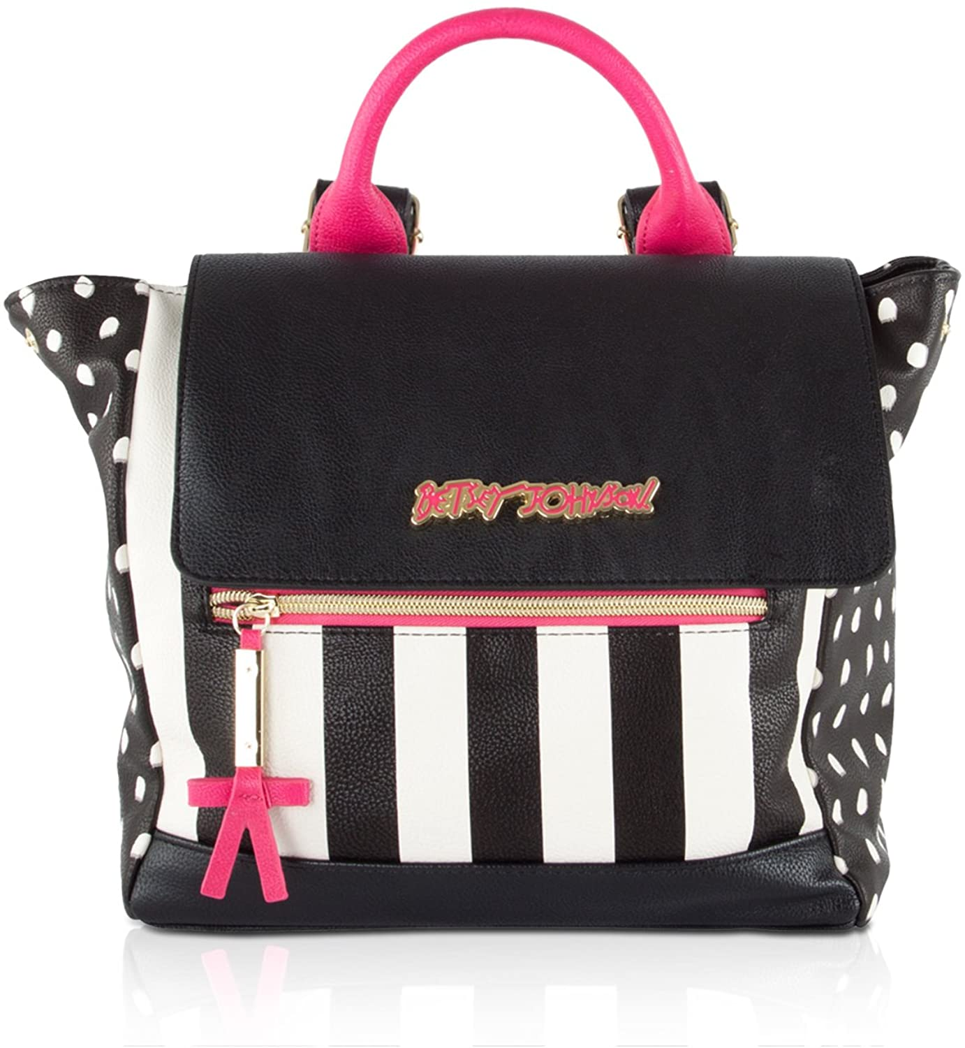 Betsey Johnson Side Snap Flap Backpack