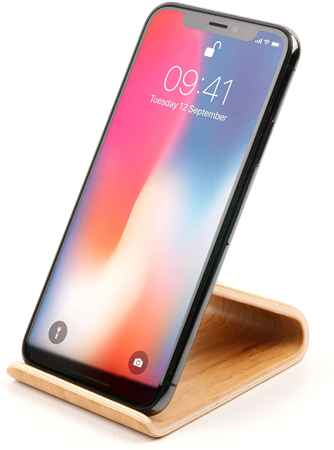 DURAGADGET Wooden Bamboo Smartphone Holder Stand - Compatible with Apple iPhone Xs Max | XS | XR | X | 8 | 8+ | 7 | 7+ | 6S | 6S+ | 6 | 6+ | SE | 5S | 5